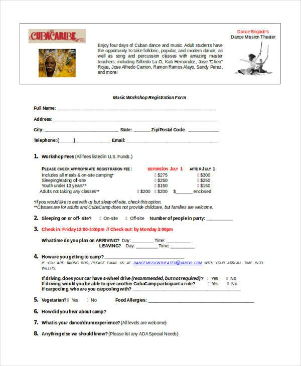 music workshop registration form