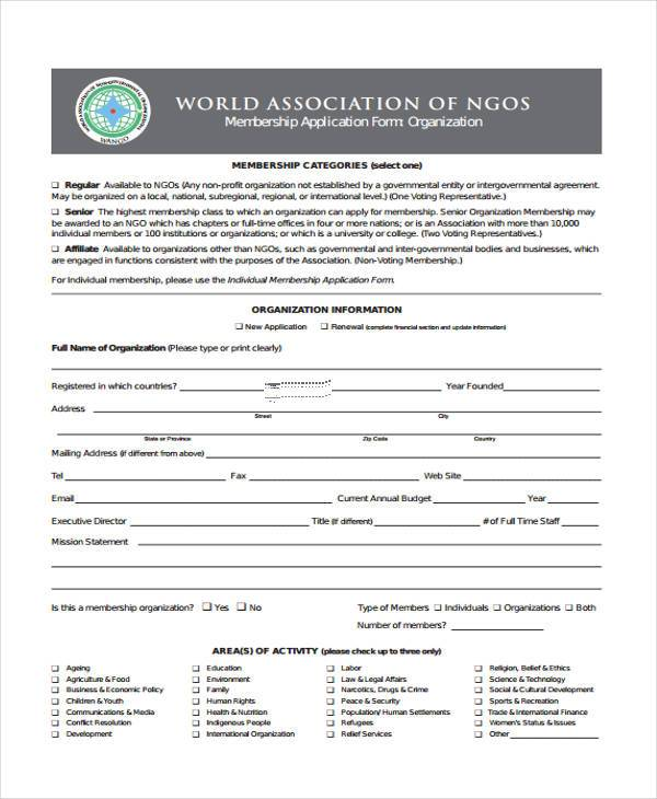 6 ngo registration form samples free sample example format download ngo membership application form thecheapjerseys Image collections