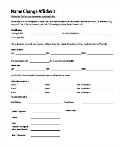 name change affidavit form
