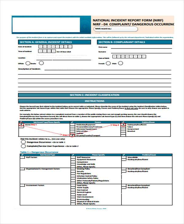 national incident complaint reporting form