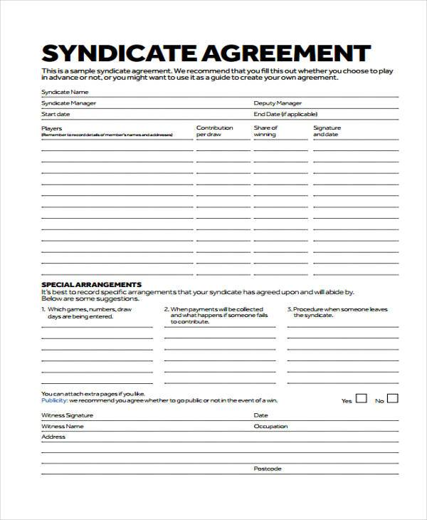 lottery syndicate agreement template word 8 lottery syndicate agreement form samples free sample