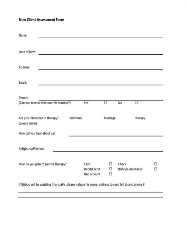 new client assessment form