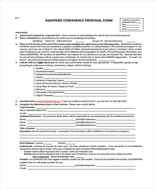 Conference Proposal Form Samples  Free Sample Example Format