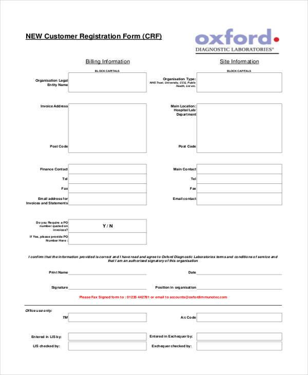 Customer registration form sample