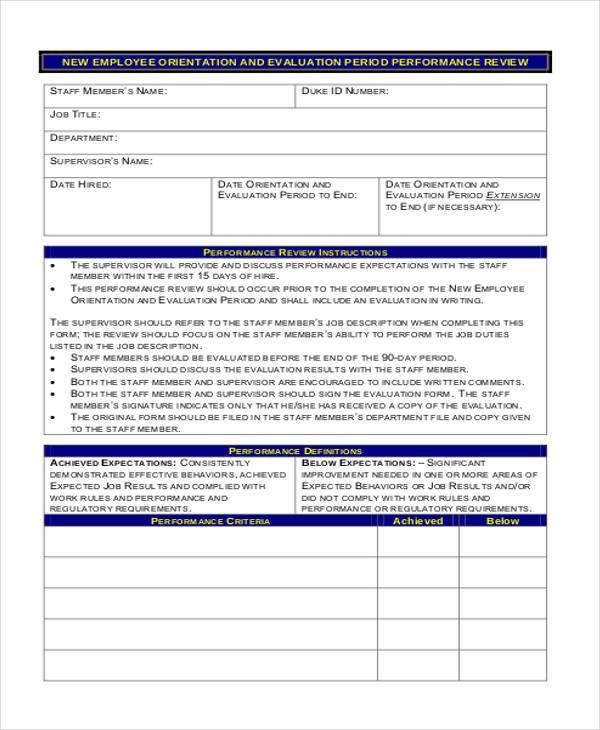 29 Employee Evaluation Forms – Orientation Evaluation Form