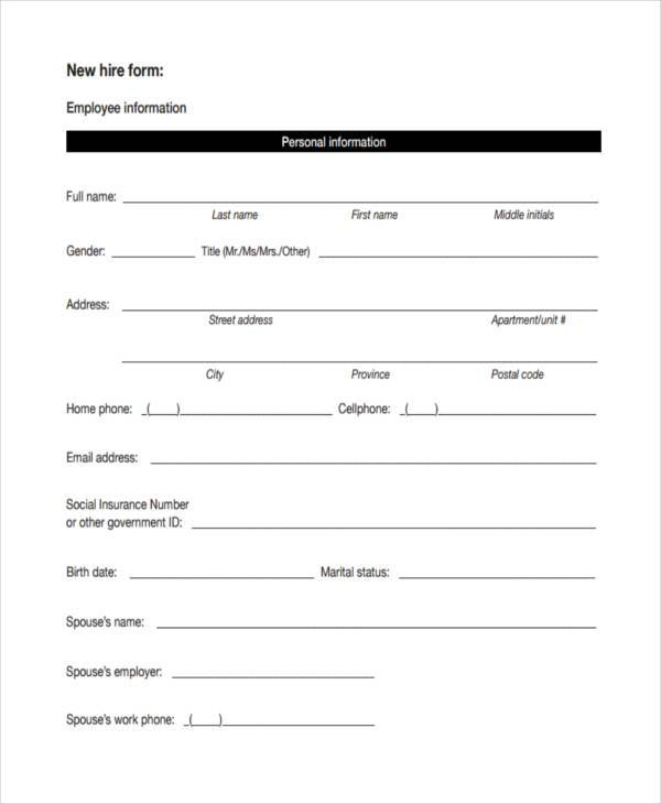 Employee information form new employee application form sample employee new hire forms free altavistaventures Gallery