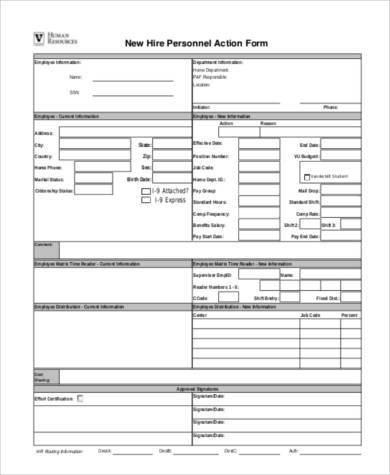 new hire personnel action form