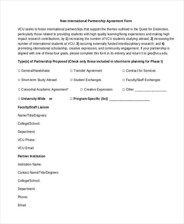 11 Partnership Agreement Form Samples Free Sample Example Format