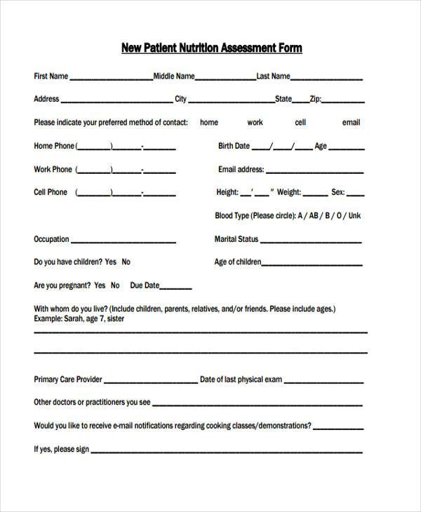 new patient nutrition assessment form