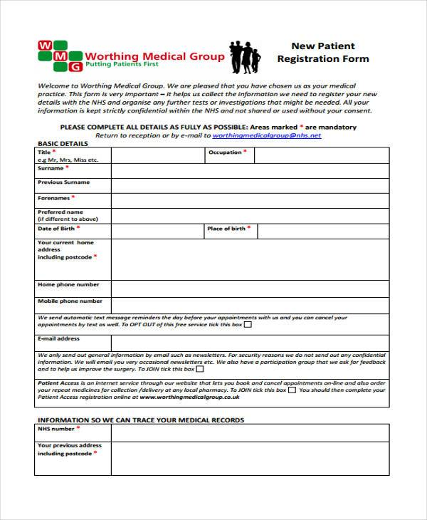 free 9  patient registration form samples in pdf