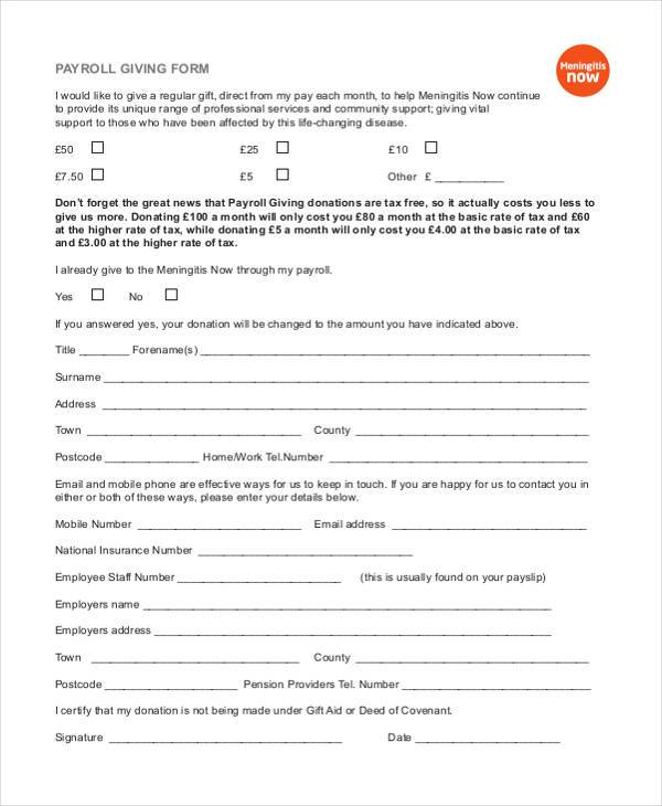 new payroll giving form