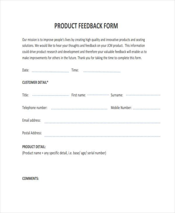 Sample Product Feedback Forms   Free Documents In Word Pdf