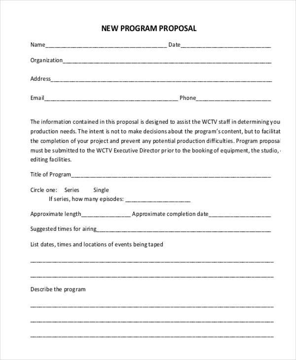 Program Proposal Form Samples  Free Sample Example Format Download
