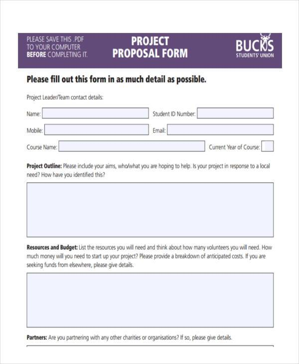 new project proposal form