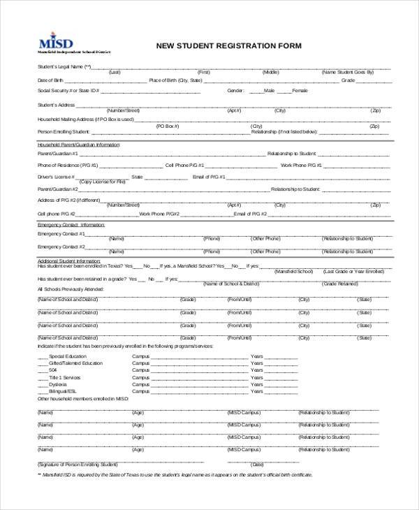 Registration Form Templates – Student Registration Form Template