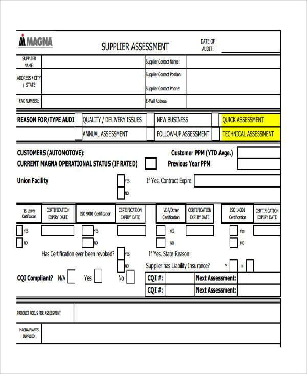 Sample Supplier Assessment Forms   Free Documents In Word Pdf