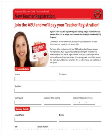 new teacher registration form