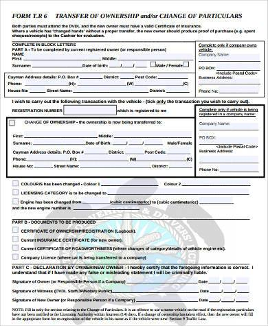new transfer of ownership form