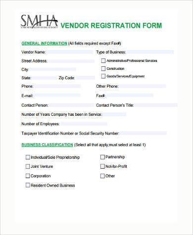 Sample Vendor Registration Forms   Free Documents In Word Pdf