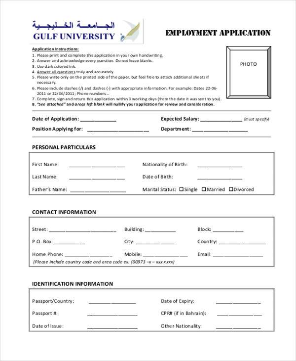 non academic employment form