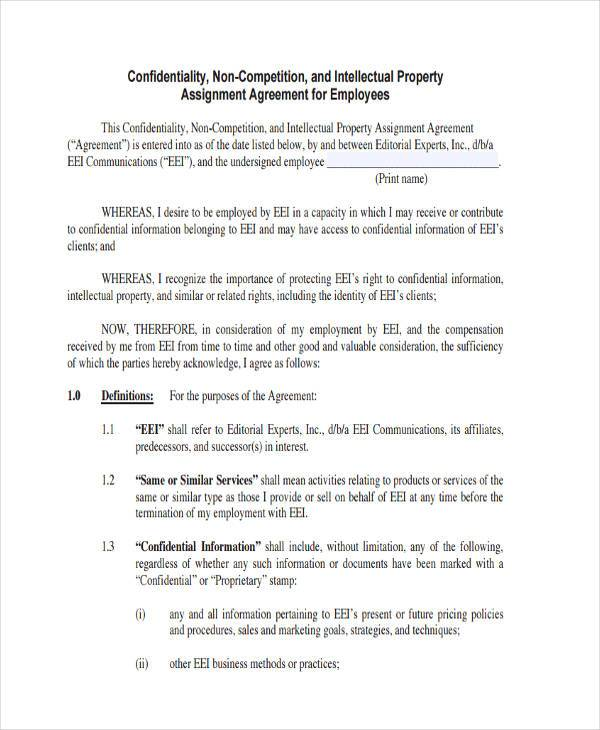 non compete assignment agreement form