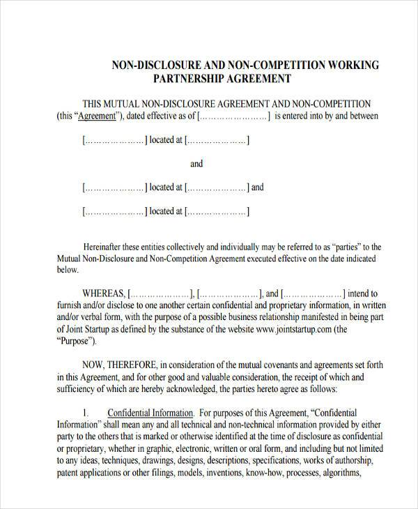 non compete non disclosure agreement form