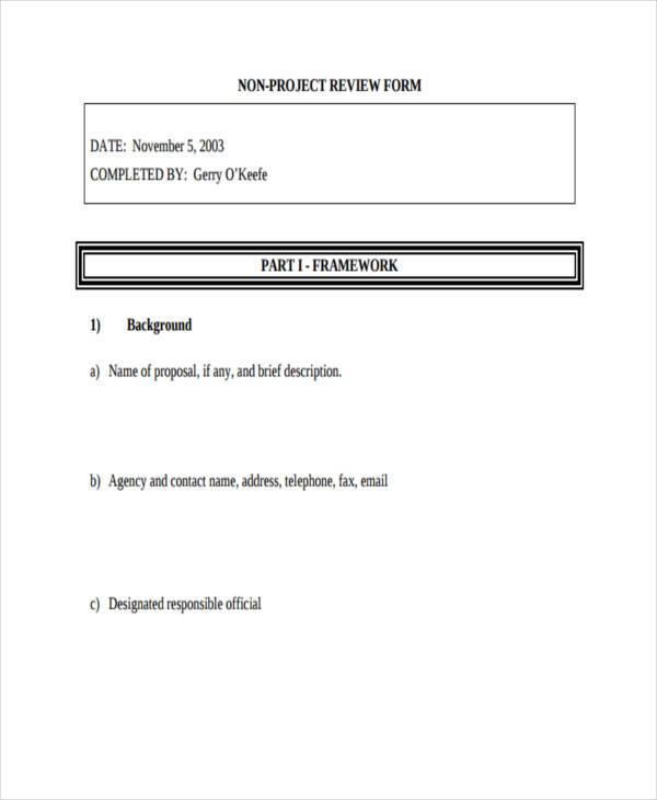 non project review form