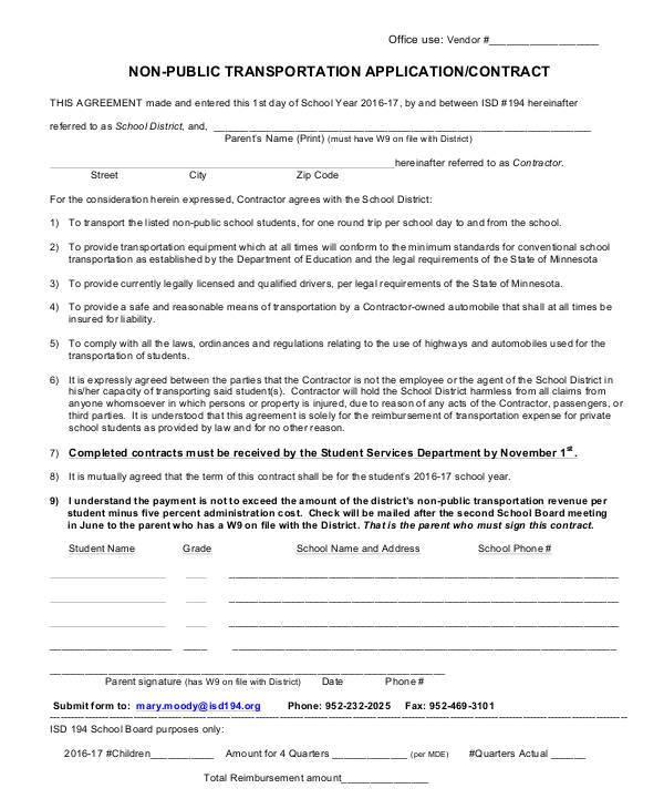non public transportation application or contract