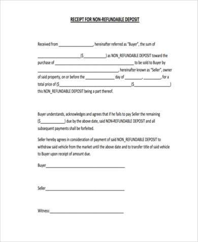 non refundable vehicle deposit form