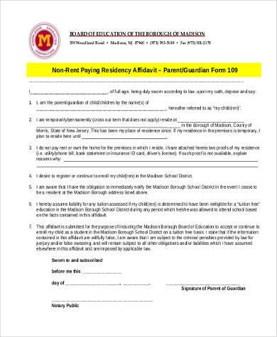 non rent paying residency affidavit form