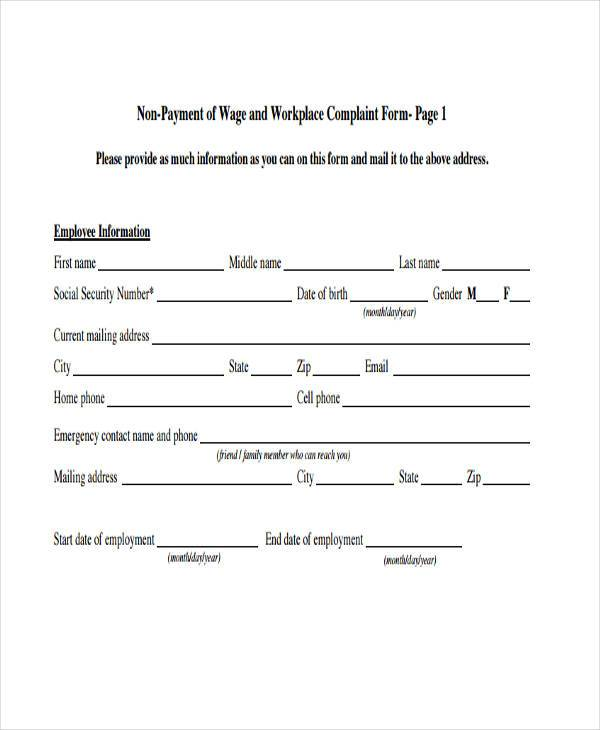 non payment of wage workplace complaint form