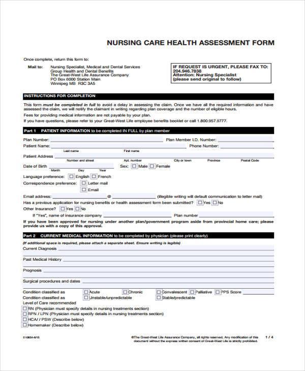 nurse care health assessment form