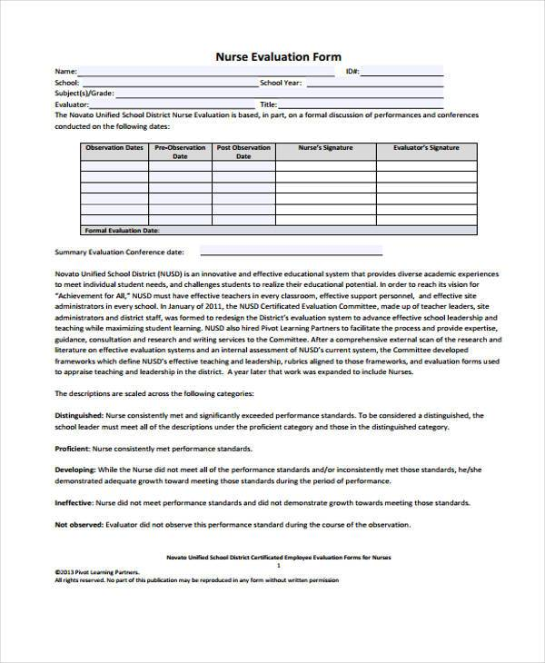 Nurse Interview Evaluation Form Sample