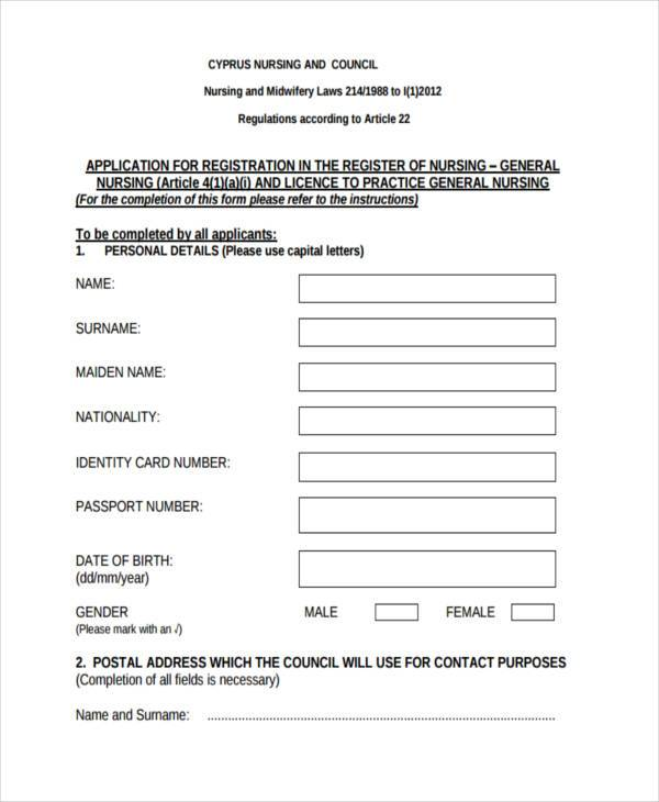Sample Nursing Registration Forms   Free Documents In Word Pdf
