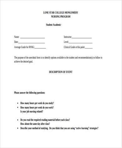 nursing counseling application form