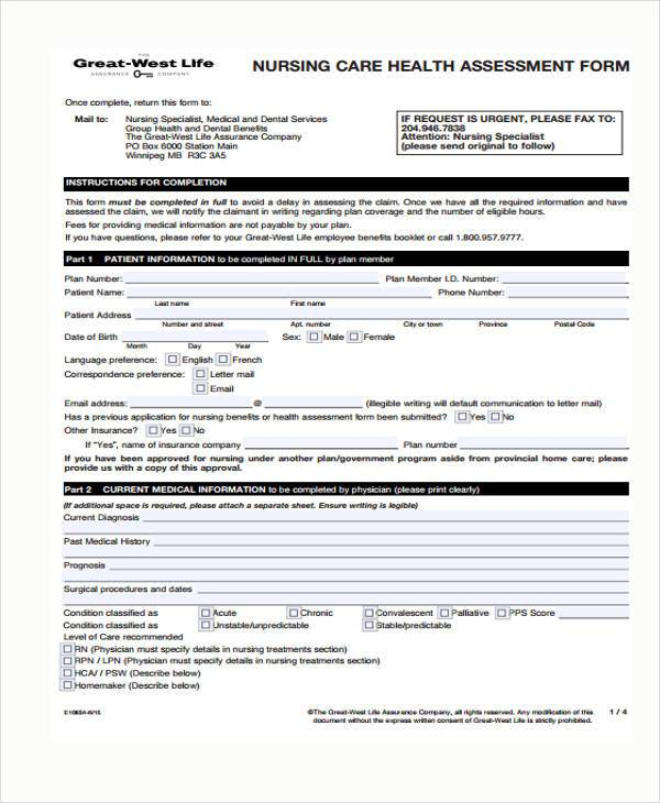 nursing health assessment form