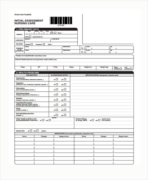 nursing initial assessment form sample