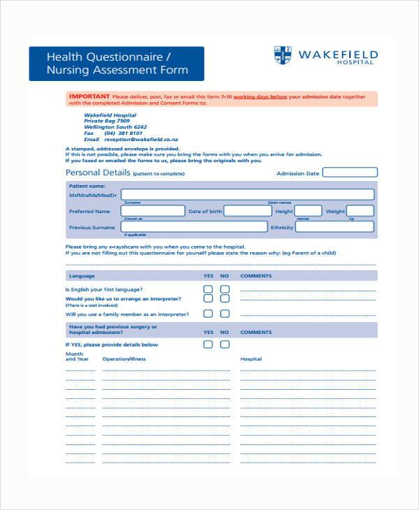 nursing patient assessment form