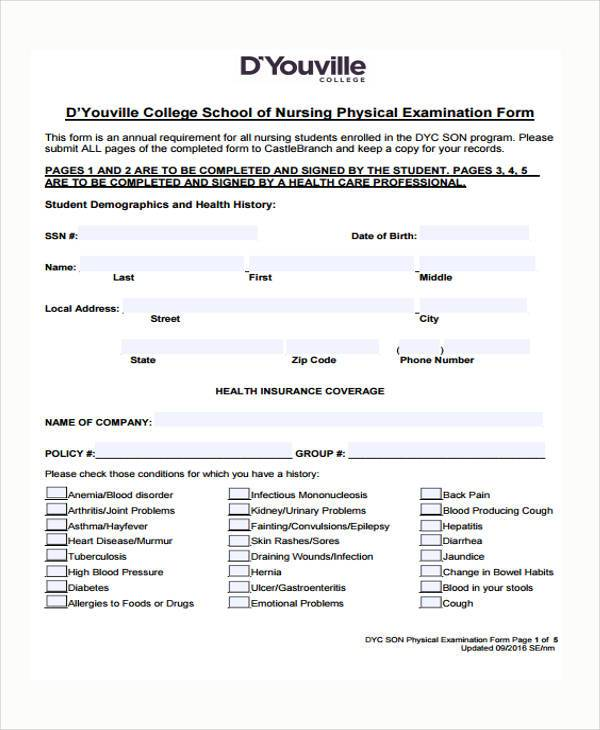 Nursing Assessment Form Samples  Free Sample Example Format
