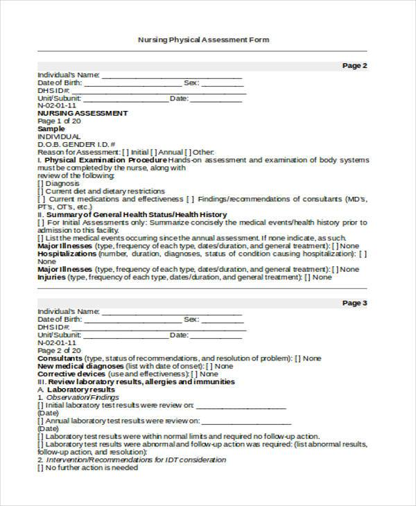 Nursing Assessment Form. Holistic Nursing Assessment Template ...