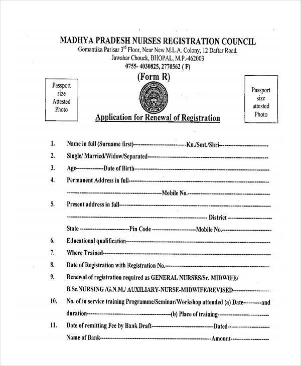 nursing registration renewal form