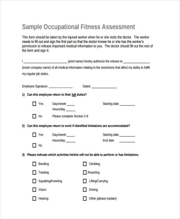 occupational fitness assessment form