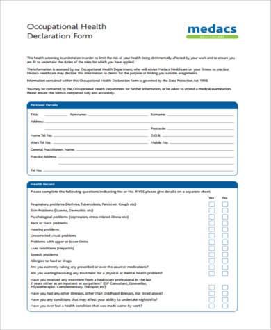 occupational health declaration form