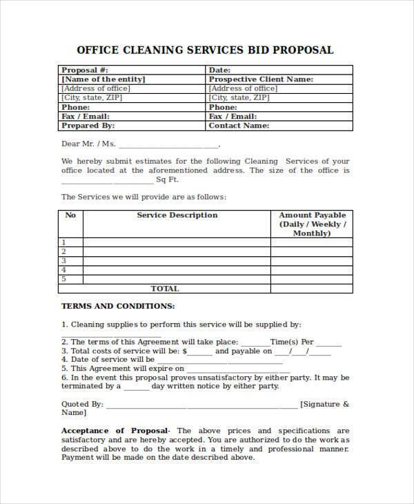 office cleaning service proposal form