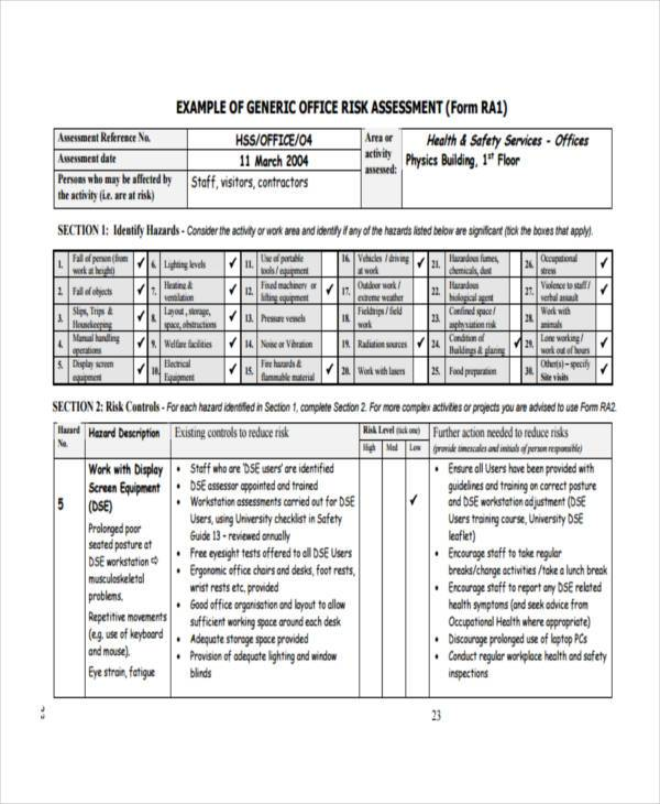 office fire risk assessment form sample