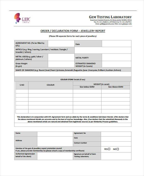 official jewelry appraisal form