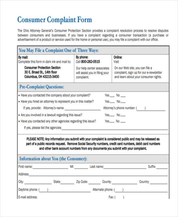 Customer Complaint Form Samples  Free Sample Example Format