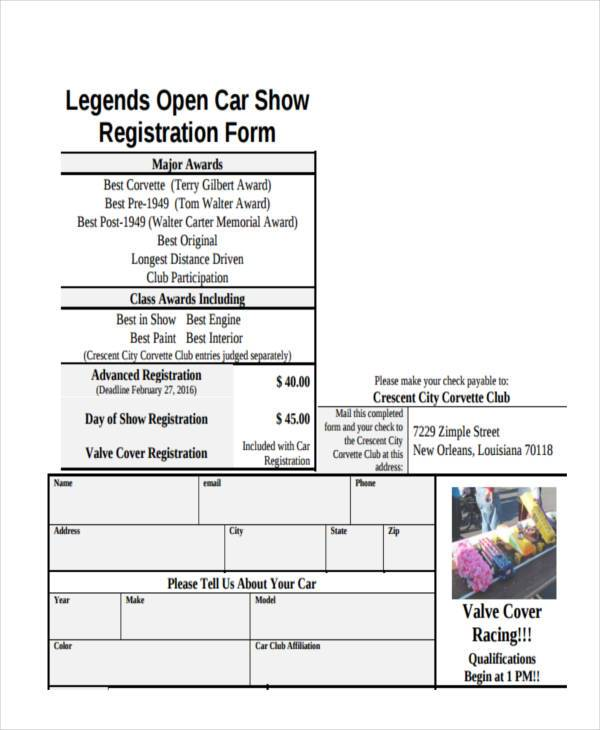 open car show registration form