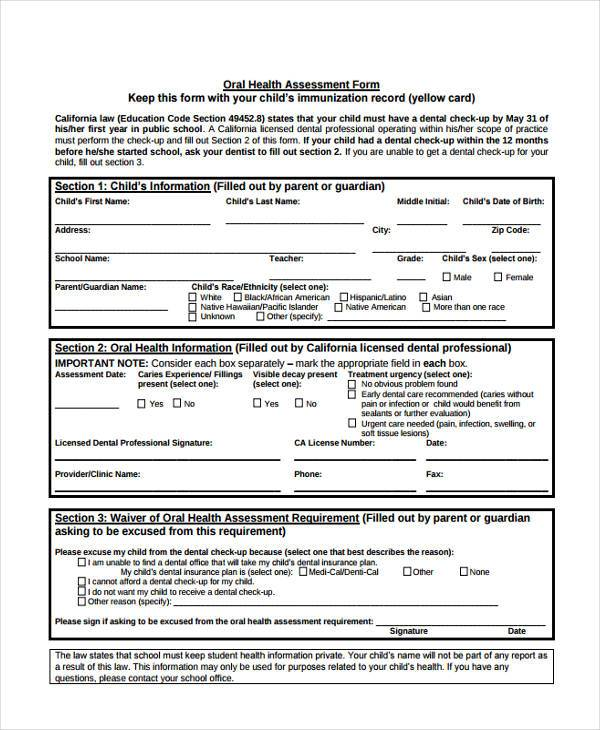 Health Assessment Form Samples Free Sample Example Format Download
