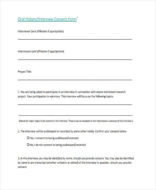 7 Interview Consent Form Samples Free Sample Example Format – Interview Consent Form